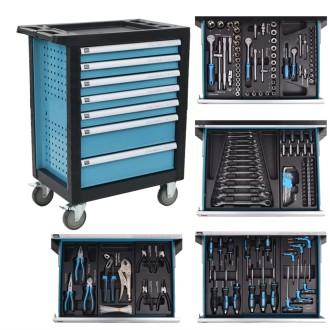 vidaXL Chariot à outils pour atelier avec 270 outils Acier Bleu