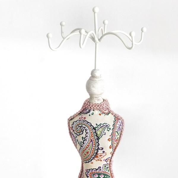 Grande poupée mannequin robe tissu et bois blanchi Rose - Photo n°2