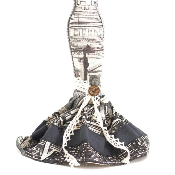 Poupée porte bijoux mixte robe de soirée Noir et blanc - Photo n°3