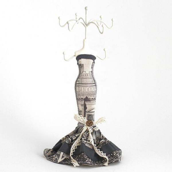 Poupée porte bijoux mixte robe de soirée Noir et blanc - Photo n°1