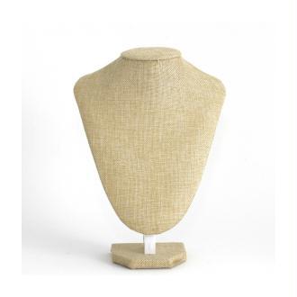 Porte bijoux buste porte collier toile de jute 25 cm Naturel