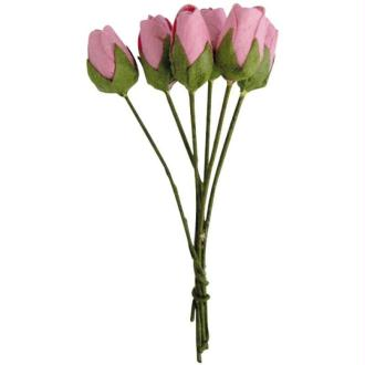 Fleur en papier bouton de rose rose pale x18