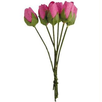 Fleur en papier bouton de rose rose vif x18