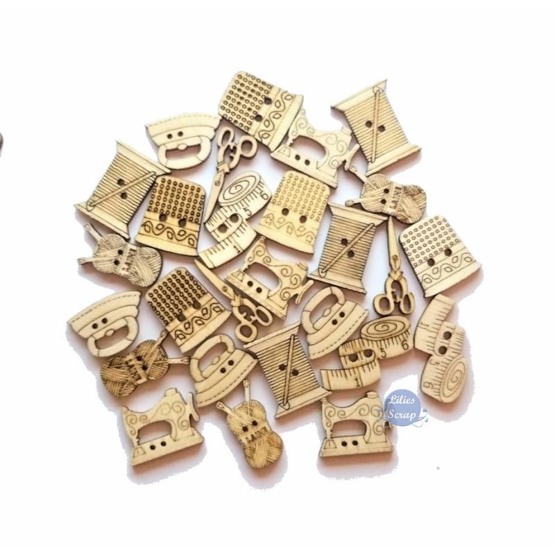 14 boutons couture en bois naturel boutons bois creavea for Boite a bouton couture