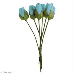 Fleur en papier bouton de rose turquoise x18