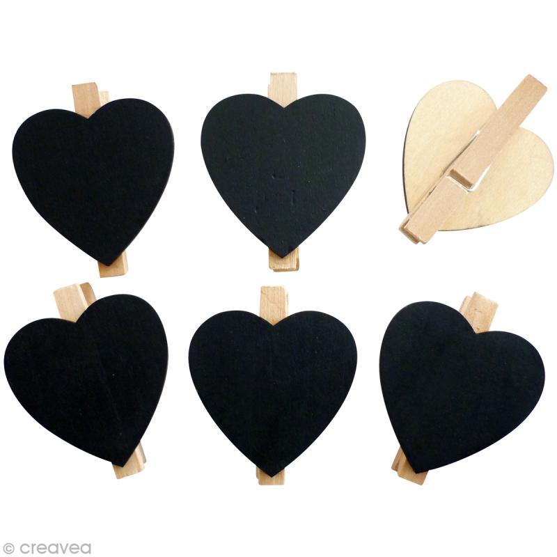 pince linge ardoise coeur x6 pinces linge ardoise creavea. Black Bedroom Furniture Sets. Home Design Ideas