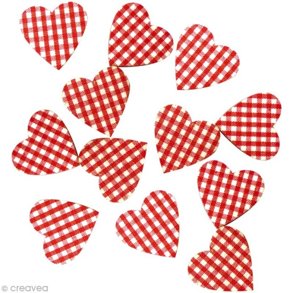 Sticker en bois Coeur rouge vichy x12 - Photo n°1