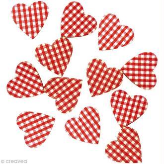 Sticker en bois Coeur rouge vichy x12