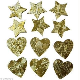 Coeur et étoile dorés en bois x 12