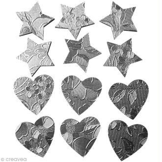 Coeur et étoile argentés en bois x 12
