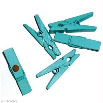 Pince à linge magnétique unie Bleu turquoise x 8