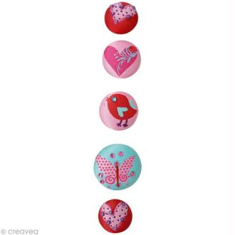 Magnet bouton Girly x 5