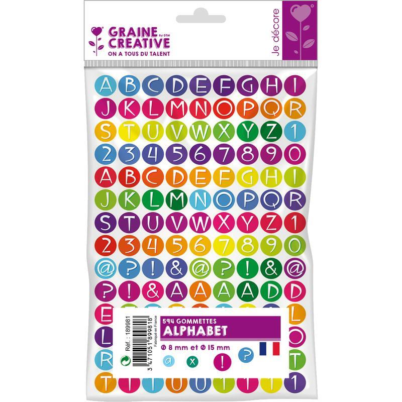 Gommettes autocollantes Alphabet multicolore x 594 - Photo n°1