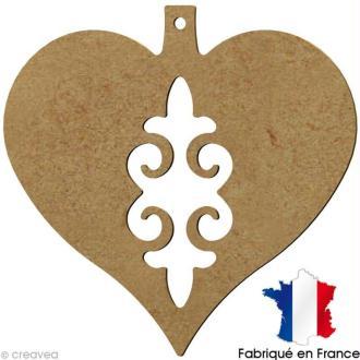 Coeur baroque de Noël en bois ajouré