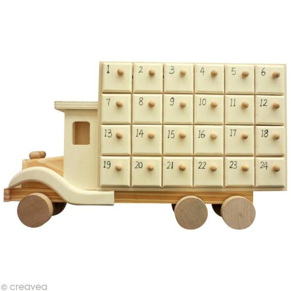 Calendrier de l'avent en bois - Camion - 31,5 cm - Photo n°1