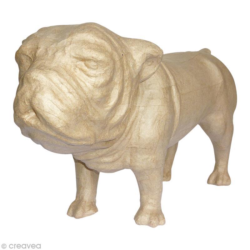 bouledogue en papier m ch 22 5 cm chien d corer creavea. Black Bedroom Furniture Sets. Home Design Ideas