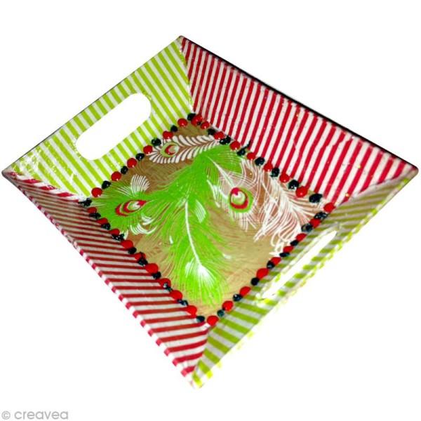 Plateau rectangulaire en papier mâché - Petit modèle - Photo n°2