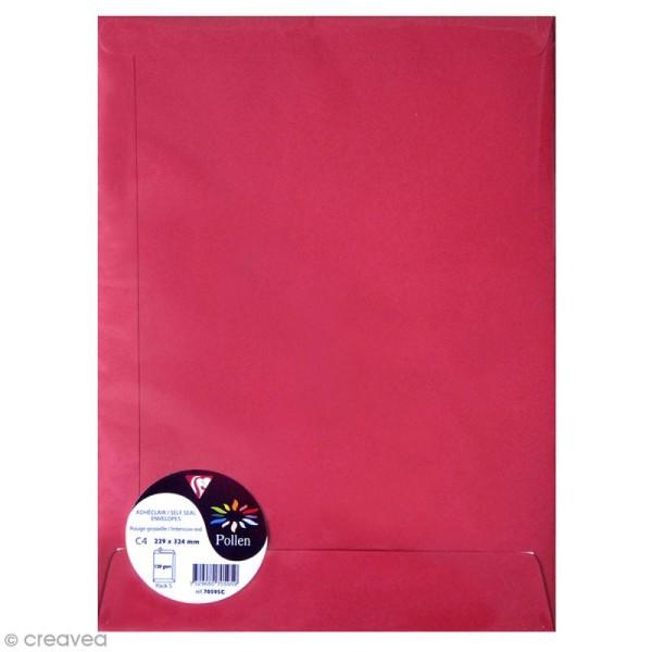 Enveloppe Pollen 229 x 324 - 120 g - Rouge groseille - 5 pcs - Photo n°1