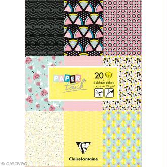 Papier scrap Clairefontaine - Bloc A4 Paper Touch Fruits géométriques - 20 pcs