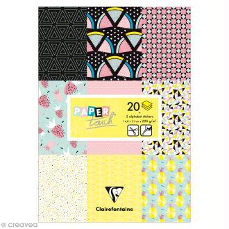 Papier scrap Clairefontaine - Bloc A5 Paper Touch Fruits géométriques - 20 pcs