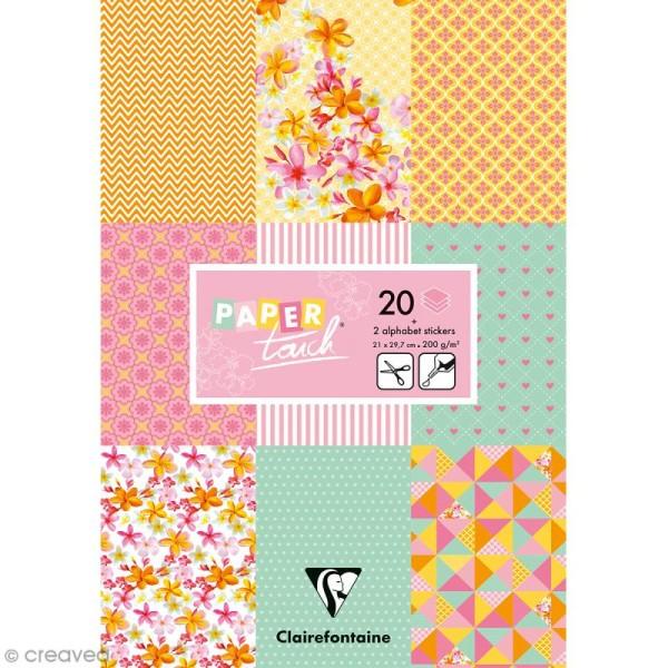Papier scrap Clairefontaine - Bloc A4 Paper Touch Printemps - 20 pcs - Photo n°1