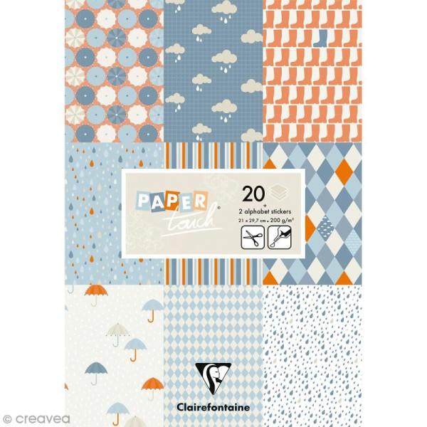 Papier scrap Clairefontaine - Bloc A4 Paper Touch Pluie - 20 pcs - Photo n°1
