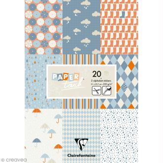 Papier scrap Clairefontaine - Bloc A4 Paper Touch Pluie - 20 pcs