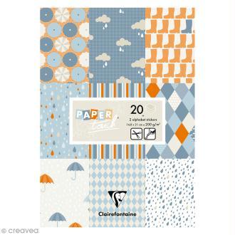 Papier scrap Clairefontaine - Bloc A5 Paper Touch Pluie - 20 pcs