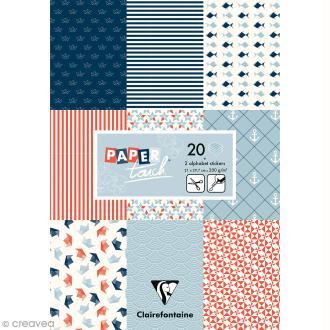 Papier scrap Clairefontaine - Bloc A4 Paper Touch Marin - 20 pcs