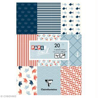 Papier scrap Clairefontaine - Bloc A5 Paper Touch Marin - 20 pcs