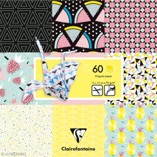 Papier origami Paper Touch - 15 x 15 cm - Fruits géométriques - 60 feuilles - Photo n°1