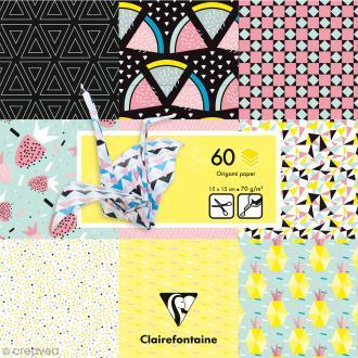 Papier origami Paper Touch - 15 x 15 cm - Fruits géométriques - 60 feuilles