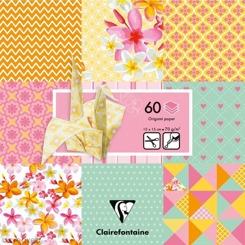 papier origami paper touch 15 x 15 cm printemps 60 feuilles papier origami creavea. Black Bedroom Furniture Sets. Home Design Ideas