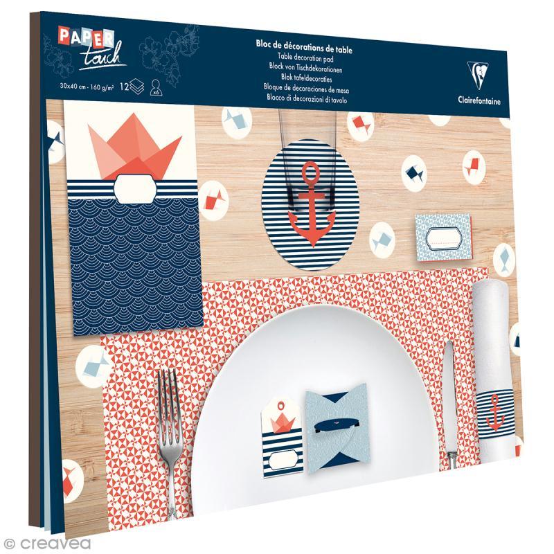 kit d coration de table clairefontaine marin 12 pcs set de table creavea. Black Bedroom Furniture Sets. Home Design Ideas