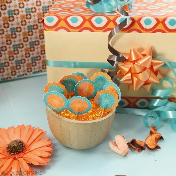 Mini pics en bois - Fleurs Seventies - 10 pcs - Photo n°2
