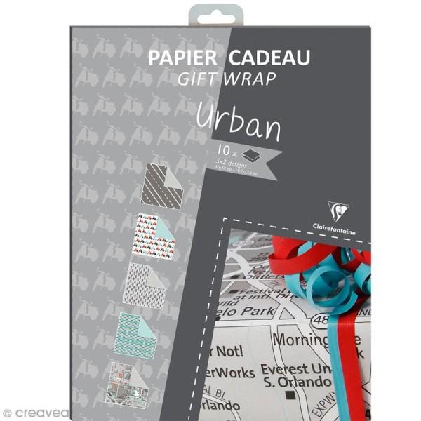 Feuille papier cadeau Clairefontaine - 50 x 70 cm - Ville - 10 pcs - Photo n°1