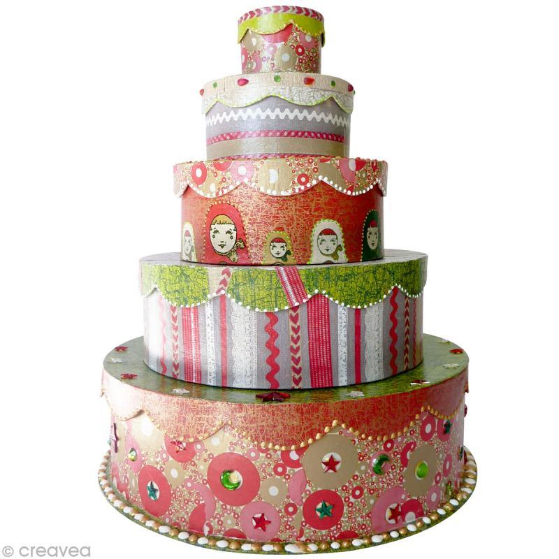 boîte gigogne gâteau de cérémonie x 5 - boite en papier maché à