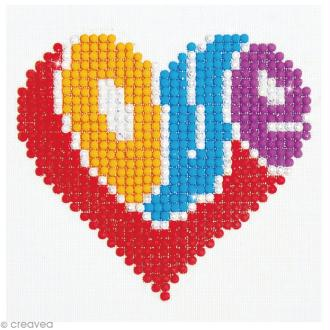 Petit Kit broderie Diamond painting - Diamond Dotz - Coeur coloré love - 10,2 x 10,2 cm