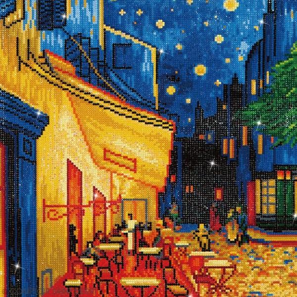 Grand Kit broderie Diamond painting - Diamond Dotz - Terrasse du café (Van Gogh) - 52 x 42 cm - Photo n°2