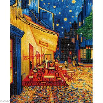 Grand Kit broderie Diamond painting - Diamond Dotz - Terrasse du café (Van Gogh) - 52 x 42 cm