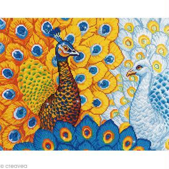 Maxi Kit broderie Diamond painting - Diamond Dotz - Paons romantiques - 57 x 49 cm