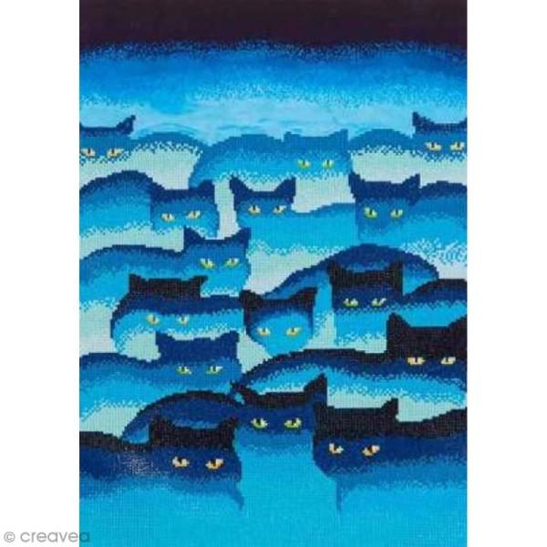 Maxi Kit broderie Diamond painting - Diamond Dotz - Chats bleus - 47 x 66 cm - Photo n°1