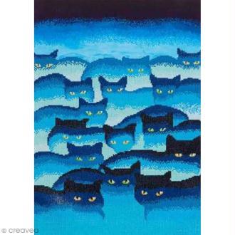 Maxi Kit broderie Diamond painting - Diamond Dotz - Chats bleus - 47 x 66 cm
