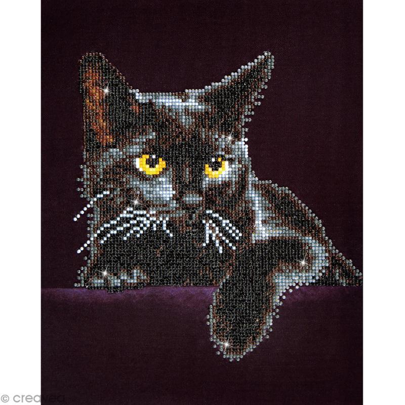 Kit broderie Diamond painting - Diamond Dotz - Chat noir - 27,5 x 35,5 cm - Photo n°1
