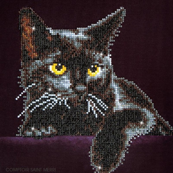 Kit broderie Diamond painting - Diamond Dotz - Chat noir - 27,5 x 35,5 cm - Photo n°2