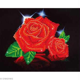 Kit broderie Diamond painting - Diamond Dotz - Roses rouges - 35,5 x 27,9 cm