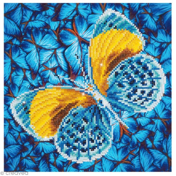 Kit broderie Diamond painting - Diamond Dotz - Papillon doré et bleu - 30,5 x 30,5 cm - Photo n°1
