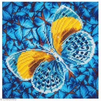 Kit broderie Diamond painting - Diamond Dotz - Papillon doré et bleu - 30,5 x 30,5 cm