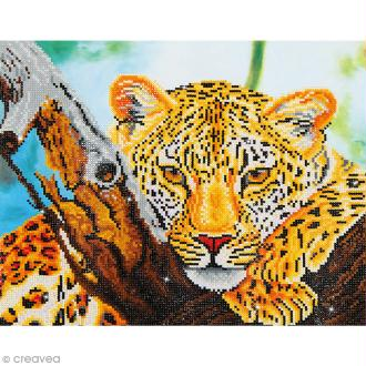 Grand Kit broderie Diamond painting - Diamond Dotz - Leopard - 45,7 x 35,5 cm