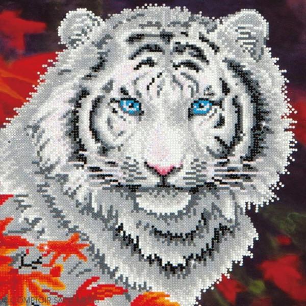 Grand Kit broderie Diamond painting - Diamond Dotz - Tigre blanc - 35,5 x 45,7 cm - Photo n°2